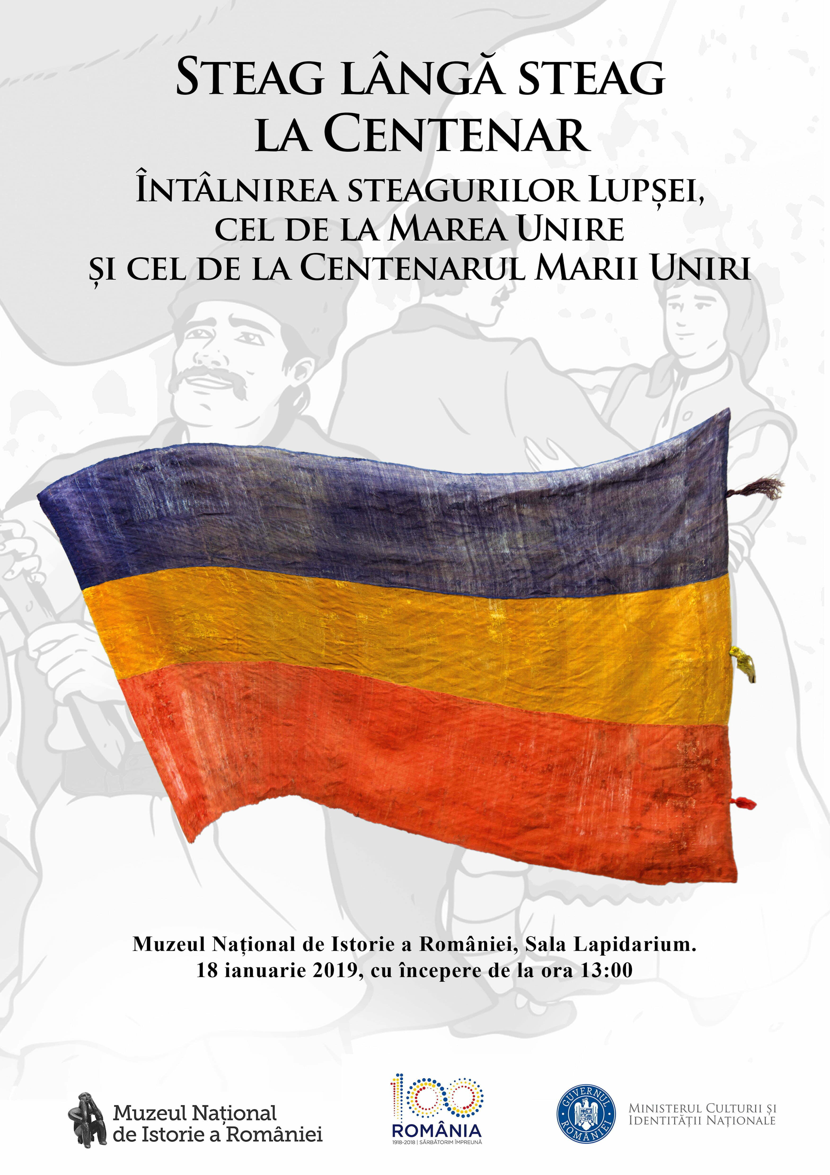 Ceremonie dedicată steagului delegaţiei comunei Lupşa la Marea Adunare Națională de la Alba-Iulia din 1 decembrie 1918