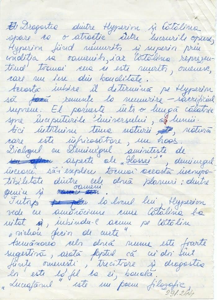 Teza la limba română din trimestrul I (septembrie-decembrie 1989) al clasei a XII-a, la care a fost notată cu zece