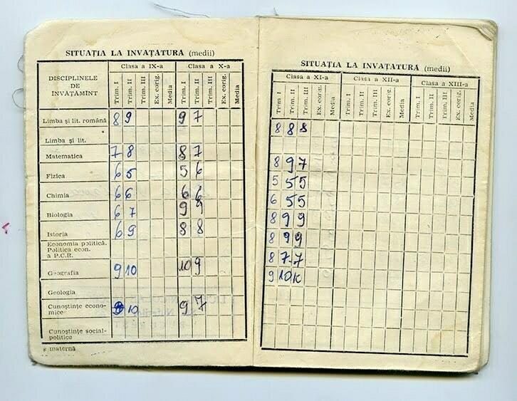 """Carnet de elev pe numele Donea Alexandra Diana, elevă a Liceului de Matematică-Fizică """"N. Bălcescu"""" din București, având mediile claselor a IX-a, a X-a și a XI-a"""